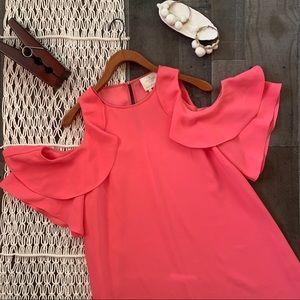Kate Spade Pink Cold Shoulder Crepe Dress